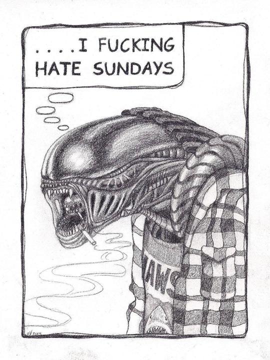 Alien Ennui (tattoo drawing) | ebony pencil on bristol board
