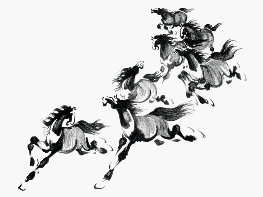 Horses (tattoo drawing) | ebony pencil on bristol board