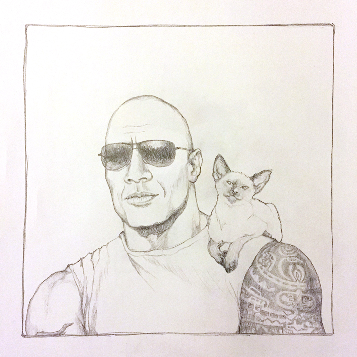 """""""The Rock"""" Is a Cat Perch   Pencil on Paper"""